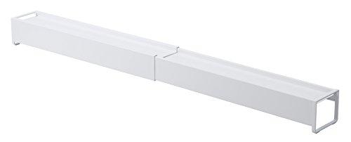 山崎実業 棚付き伸縮排気口カバー ホワイト 約W44.5~82×D8×H7.2cm プレート 排気口カバー 伸縮式 棚付き 3504