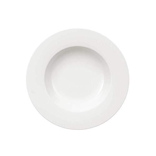 Villeroy & Boch - Royal Suppenteller/tiefer Speiseteller, 24 cm, Premium Porzellan, spülmaschinen-, mikrowellengeeignet, Weiß