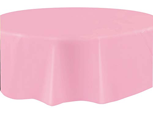Unique Party Plastic Tablecover Tovaglia Plastificata Rotonda, Rosa
