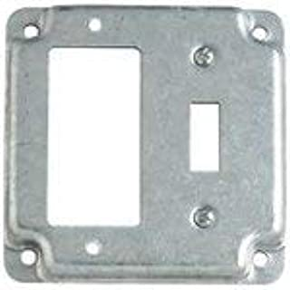 Steel City 2-Gang 4 in. Square RS GFCI/Toggle Switch Box Cover - Silve