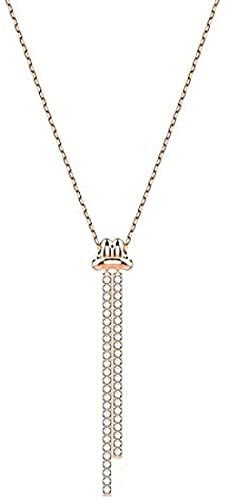 LBBYLFFF Collar Moda noode Collar pompón Collar Cuerda Nodo clavícula Cadena Todo-fósforo Mujer Regalos