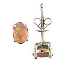 Gin & Grace Pendiente oro amarillo 14K Mandarín granate natural del perno prisionero de la Mujer