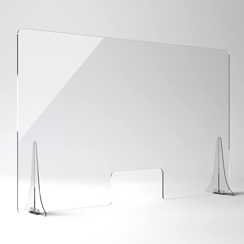"""SNEEZEGUARDER   XL 30""""H x 48""""L Plexiglass Sneeze Guard for Desk Counter with Double-Side Tape Base Stabilizers   Ships Fast   20+ Sizes Available   48""""L x 30""""H   48x30"""