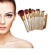 Generic Make-up Brush (Set of 12 Brushes with Golden Metal Storage Box) For Women's & Girl's
