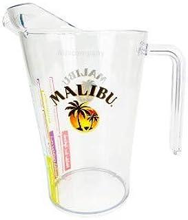 Malibu Rum Pitcher aus Kunststoff Plastik transparent mit Rezepten Cocktailkrug - 2,0l geeicht