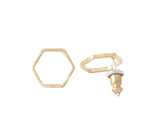 Ohrringe vergoldet Ohrstecker Hexagon Sechseck Ø 1cm als minimalistischer geo Damenohrring und Geschenkidee