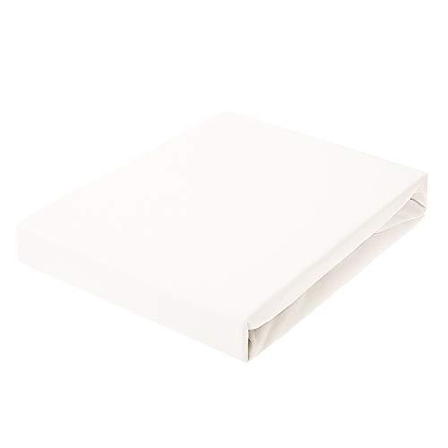 Spannbettlaken 90 x 200 | Jersey Stoff Bettlaken | Hohe Qualität Leintuch 100% Baumwolle, 150 g/m² | Spannbetttuch für Boxspringbett, Topper, Matratze, Bett [bis 30 cm] | Weiß | von Textillo