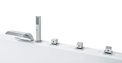 Whirlpool Badewanne Venedig MADE IN GERMANY rechts oder links 150 / 160 / 170 x 75 cm mit 6 Massage Düsen + MIT Armaturen Eckwanne Jakuzzi Spa runde rechte / linke Eckbadewanne innen günstig - 3