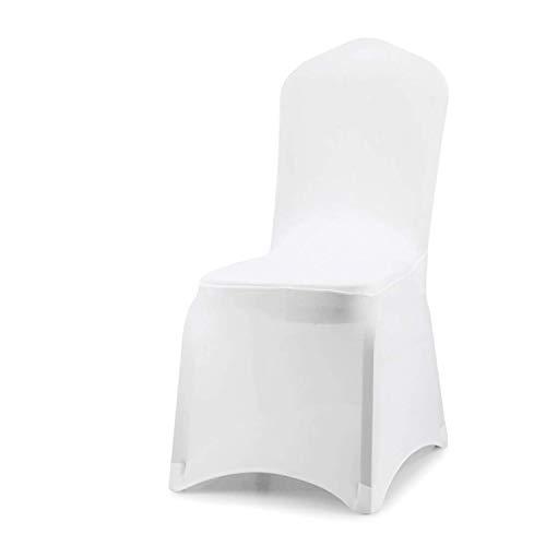 wolketon Stuhlhussen 10 Stück Universell Stuhlbezüge Elastik Stuhl Abdeckung für Hochzeiten und Feiern Pflegeleicht und Langlebig, Weiß, 45x90 cm