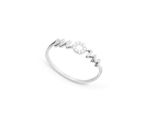 NICOLS 29210224x10 - Anillo Oro Blanco (18kt) MOM con círculo de pavé de Diamantes