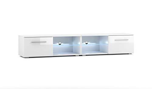 Vivaldi Moon 2Dual Waschtisch TV Design Weiß Matt mit Weiß glänzend. Die LED-Beleuchtung blau.