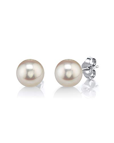 14K Gold 6.0mm AAAA Quality Round White Freshwater Cultured Pearl Stud Earrings Set for Women