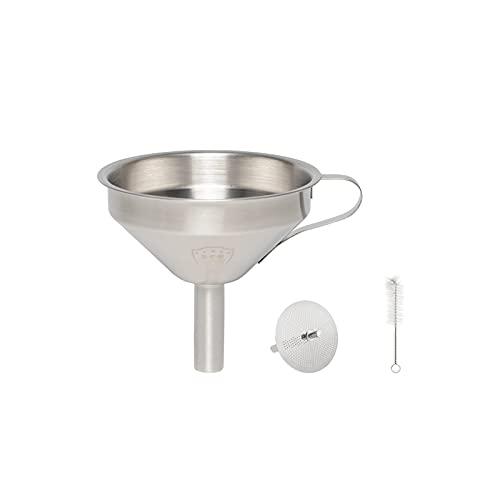 Lanihart Embudo de cocina de acero inoxidable 316 de 11 cm, con colador de acero inoxidable extraíble para la transferencia de ingredientes líquidos y en forma de polvo.