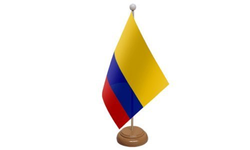 Colombie PETIT DRAPEAU DE TABLE AVEC SOCLE EN BOIS + 59mm Insigne de bouton