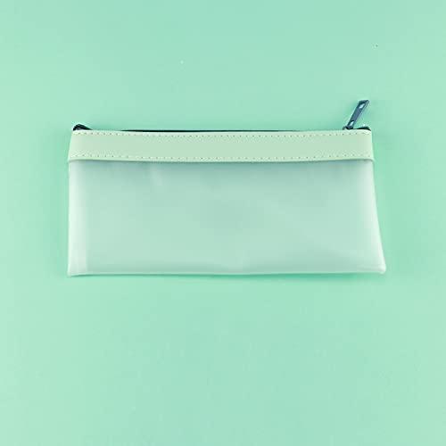 MEYYY Bolsa para lápices, mate transparente creativo, bolsa de artículos de tocador portátil, estuche con cremallera para examen de viaje, bolsa de cosméticos verde 20,5 x 10 cm
