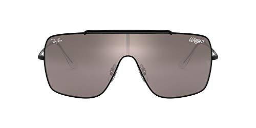 Ray-Ban unisex adult Rb3697 Wings Ii Sunglasses, Black/Dark Violet Mirror Silver, 35 mm US