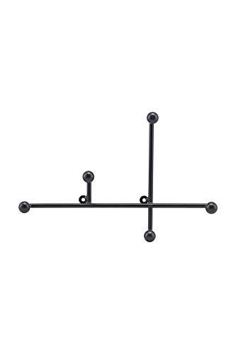 HOUSE DOCTOR Garderobenleiste Prea in Schwarz Maße: 28x18cm mit 5 Haken zum aufhängen / Einfach zu montieren