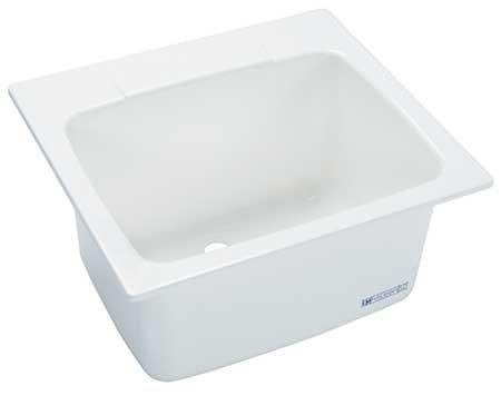 Drop-In Utility Sink, Fiberglass White, Bowl Size 21-3/8