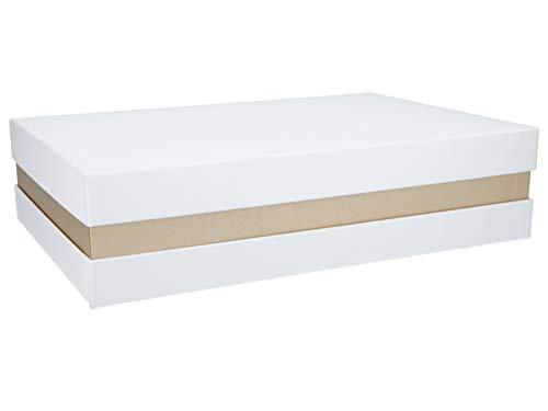 Premium+ Geschenkbox Geschenkverpackung Weiß, Gold metallic 33x22x8 cm Geschenkkarton Schachtel, Anzahl Artikel:1 Box
