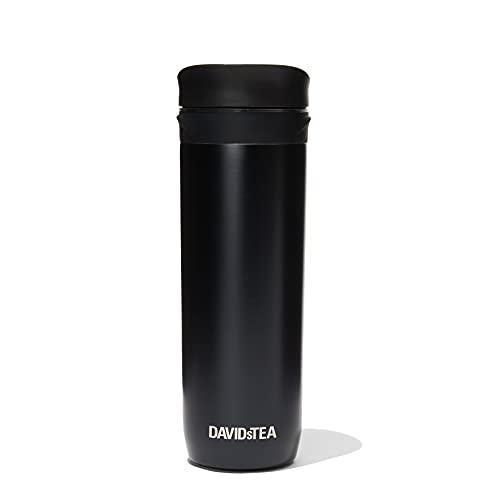 DAVIDsTEA Tea Press Double-Walled Stainless Steel Travel Mug for Loose Tea, 16 oz / 473 ml (Black)