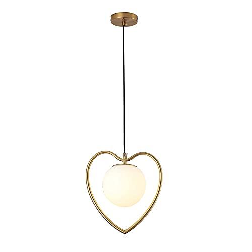NAMFXH Candelabro Simple y Creativo Lámpara de Techo nórdica Hierro Droplight en Forma de corazón E27 Fuente de luz...