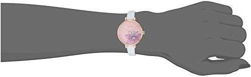 Nine West Women's NW/2122RGWT Rose Gold-Tone and White Strap Watch