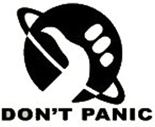 242599e38490d Amazon.com: Hitchhiker's Guide To The Galaxy Don't Panic Black Decal Vinyl  Sticker|Cars Trucks Vans Walls Laptop| Black |5.5 x 4 in|LLI556: Automotive