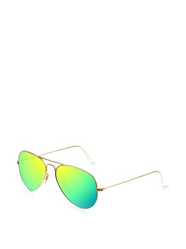 Ray-Ban Aviator Large Metal, Gafas de Sol Unisex Adulto, Dorado (Matte Gold/Cristal Green Mirror), 58