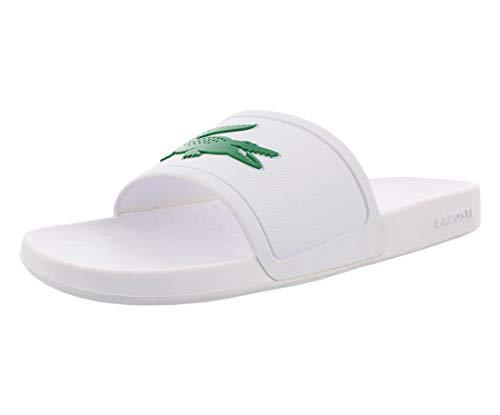 Lacoste Men's Croco Slide Sandal, Fraisier White/Green, 13 Medium US