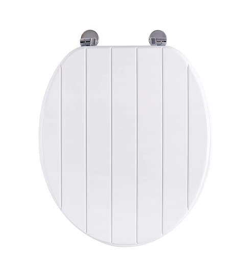 AINAZHI Universal Toilet Seat, Durable White Paint Stripe Coated Lid with Zinc Chrome Alloy Hinges, Easy Clean, Stable, Standard Size to Fit, 43*37*3cm