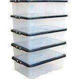 Home Storage King - Cajas de almacenamiento de plástico con tapa (32 L, 5 unidades), transparentes con tapas negras, perfectas para el hogar, la oficina y el garaje