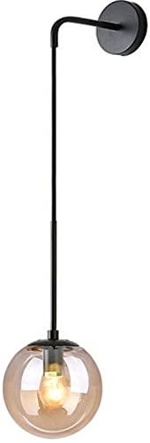 MWKL Industrial Vintage Loft Bar 15cm Globe Drop Wall Accesorio de iluminación Dormitorio Pasillo Aplique Luz Retro Bola de Cristal Lámpara de Pared (Negro, Ámbar)