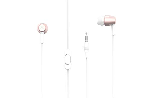 Motorola Pace 200 Wired in-Ear Metal Headphones, Compatible with Alexa – Rose Gold