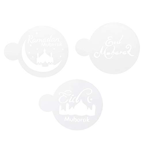 S-TROUBLE 3pcs Pet Mezquita Eid Mubarak Ramadan Design Coffee Stencils Herramienta de decoración de Pasteles