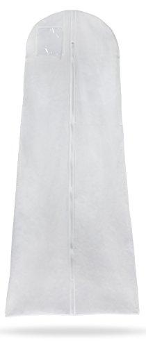 Grinscard Kleidersack für Brautkleider & Ballkleider - Weiß 180 x 77 x 20 cm - Kleidertasche für Schutz & Aufbewahrung