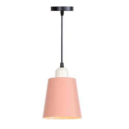 Chandelier de granja Diseñador Nordic Simple Single Head Pendant Lights LED Cuello Lámpara Colorida Iron Fistadure Cocina Island Bar Hotel Decoración E27 AC 110V-240V Arañas modernas ( Color : Pink )