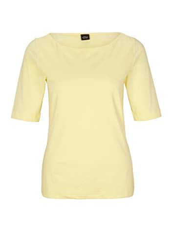 s.Oliver BLACK LABEL Damen Shirt mit U-Boot-Ausschnitt Soft Yellow 48