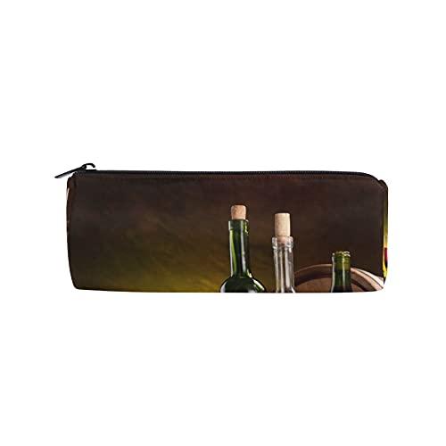 Botellas de vino Copas Friut Uvas Estuches Estuche para lápices, bolsa de papelería con cremallera bolsa de maquillaje para mujeres, niños, niñas, adolescentes, niños, enfermeras escolares suministros