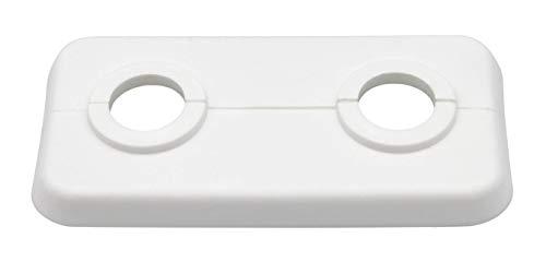 10 STÜCK Doppel-Rosetten für Heizungsrohre, Abdeckung für Heizungsrohre, 2-teilig, Heizung, Heizkörper, 12mm bis 21,3mm; weißes Polypropylen, weiss (15mm)