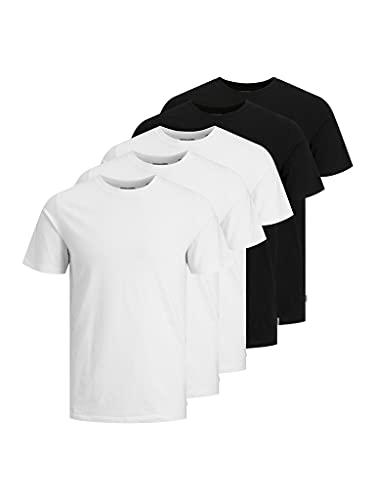 Jack & Jones Jjeorganic Basic tee SS O-Neck 5pk MP Camiseta, Negro/Paquete: 3 Blanco y 2 Negro, S para Hombre