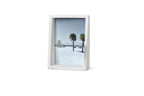 Umbra Edge Resin Picture Frame and Photo Display for Desk or Table Top, 5x7, White Marble
