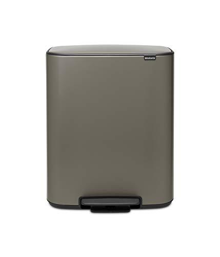 Brabantia Bo Cubo de pedal de cocina para reciclaje, 2 x 30 litros, color platinum