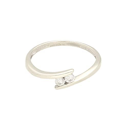 Anillo de oro blanco de 9 quilates para mujer con diamante cruzado de 0,10 quilates (tamaño I) de 4 mm de ancho, anillo de lujo para mujer