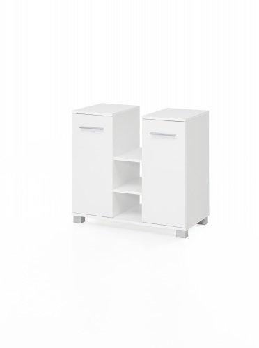 Waschbeckenunterschrank mit 2 Türen und 3 Fächern mittig Bad Kao, Weiß