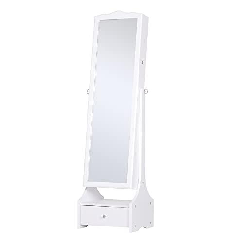 homcom LED Portagioie Armadio per Gioielli con Specchio con Base a Cassettiera cassetto Organizzatore Gioielli e Accessori 45x36x150 cm