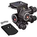 Manfrotto 410 Junior Geared Tripod Head with Quick Release and a ZAYKIR Quick Release...