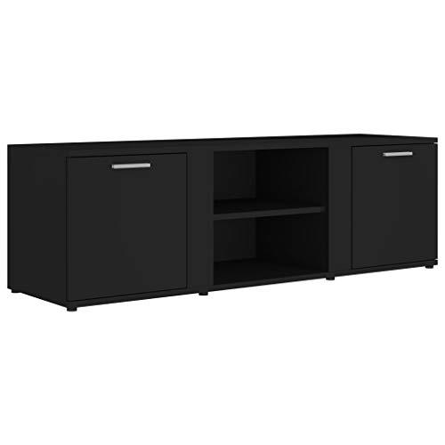 vidaXL TV Schrank mit 2 Türen 2 Fächern TV Möbel Lowboard Fernsehtisch Fernsehschrank Sideboard HiFi-Schrank Hochglanz-Schwarz 120x34x37cm Spanplatte