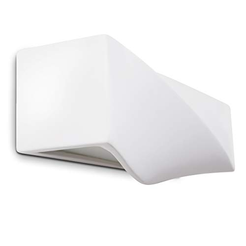 Wandleuchte Suzu aus Keramik in weiß, Wandlampe mit Up & Down-Effekt, 1 x E27-Fassung max. 60 Watt, Innenwandleuchte mit handelsüblichen Farben bemalbar, geeignet für LED Leuchtmittel