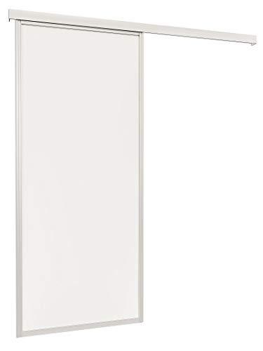 inova Schiebe-Tür auf Sonder-Maß bis 1200x2700mm Holzdekor weiß mit umlaufendem 33mm Alu-Profil silberfarbig-eloxiert