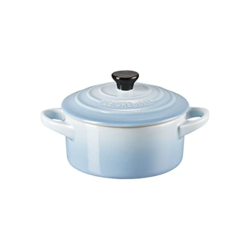 Le Creuset Mini cocotte redonda de cerámica de gres, 250 ml, ⌀ 10 cm, Azul Coastal,71901104200100